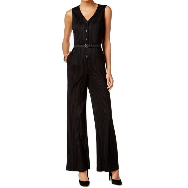 9ac5b779a410 Shop Nine West NEW Black White Womens Size 14 Pinstriped Belted Jumpsuit -  Free Shipping Today - Overstock.com - 21726839