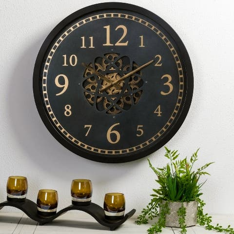 "Glitzhome 22.8""D Morden Metal Wall Clock with Moving Gears"