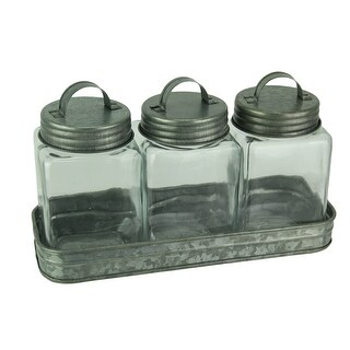 Rustic Farmhouse Metal Tray with 3 Lidded Glass Storage Canisters
