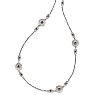 Chisel Stainless Steel Polished/Textured Black Onyz with 2in ext. Necklace - 34 in