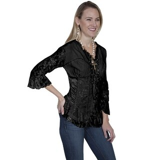 Scully Western Shirt Womens Long Sleeve Stud Lace Ruffle