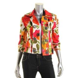 St John Womens Floral Print Elbow sleeves Blazer - 12