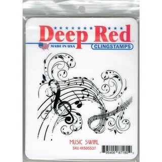 Deep Red Stamps Music Swirl Rubber Cling Stamp - 3 x 3.1