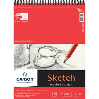 "Canson Foundation Series Spiral Sketch Paper Pad 11""X14""-50 Sheets"