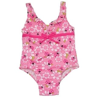 Penelope Mack Little Girls Pink Floral Ruffle Tie One Piece Swimsuit