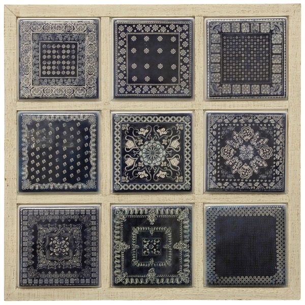"""StyleCraft SC-WI42753 28 1/8"""" x 28 1/8"""" Metal and Wood Patterns and Designs Wall Sculpture - Blue"""