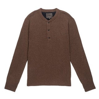 JACHS NEW Brown Mens Size Small S Solid Henley Wool Blends Sweater
