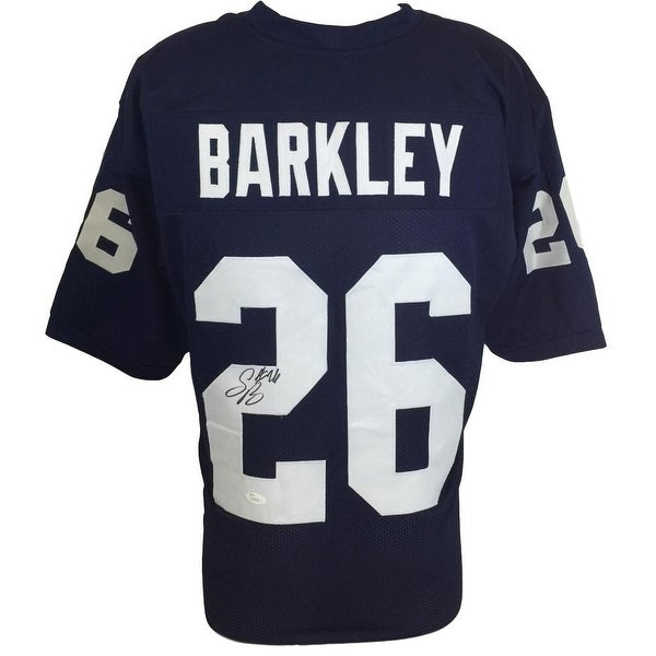 the latest 6be50 d9bc0 Shop Saquon Barkley Signed Custom Blue College Football ...
