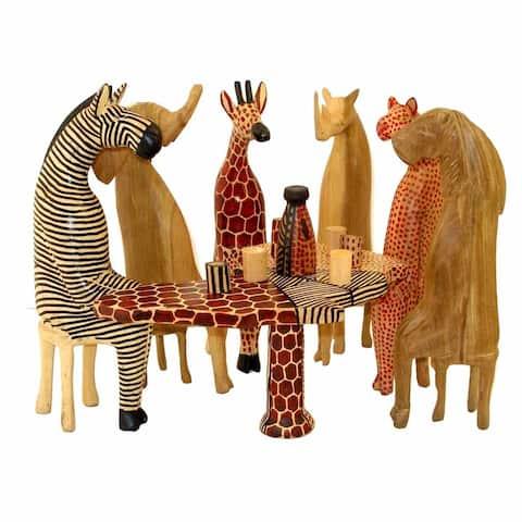 Hand-carved Mahogany Safari Party Animals, 13-Piece Set