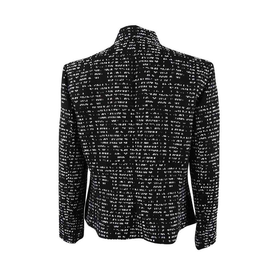 Nine West Womens Tweed Shawl Collar Kiss Front Jacket