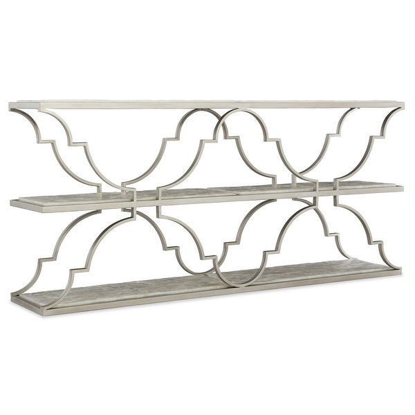 """Hooker Furniture 638-85415 Golden Gate 14"""" Long Gypsum Top Metal Console Table from the Melange Collection"""