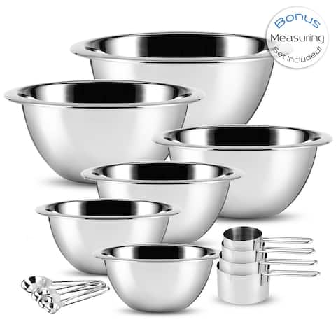 SleekDine Premium Stainless Steel Mixing Bowl, Measuring Cup and Spoon Set