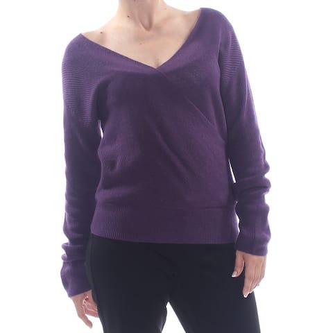 BAR III Womens Purple Wrap Wear To Work Sweater Size S