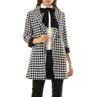 Link to Women Houndstooth Pattern Double Breasted Worsted Coat - Black Similar Items in Women's Outerwear