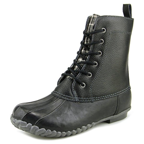Sporto Jessica Women Round Toe Leather Black Rain Boot