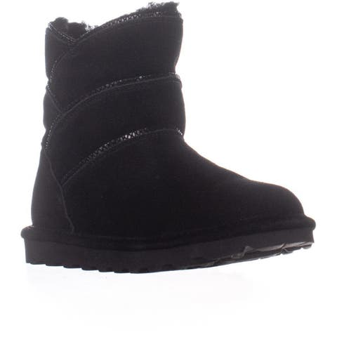 Bearpaw Angela Flat Winter Boots, Black Suede - 7 US / 38 EU