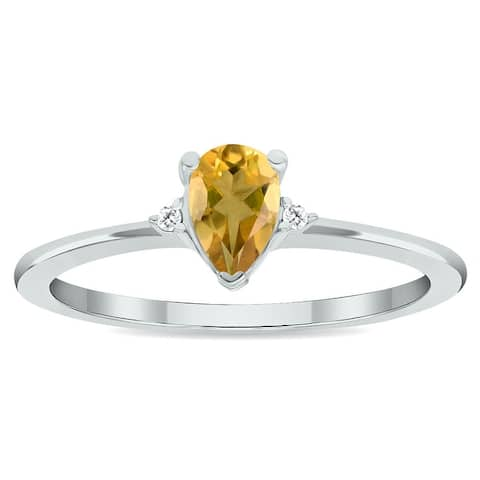 Women's Citrine and Diamond Classic Band in 10K White Gold