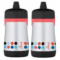 Thermos Foogo 10 oz Vacuum Insulated Hard Spout Sippy Cup (Poppy, 2-Pack)