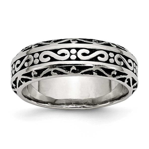 Chisel Stainless Steel Antiqued Band (7 mm)
