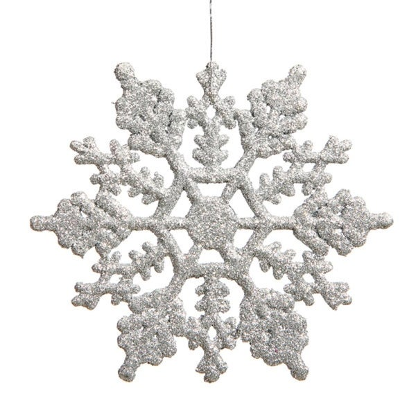 """Club Pack of 12 Silver Glitter Snowflake Christmas Ornaments 6.25"""""""
