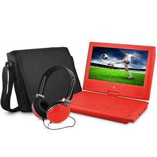 "Ematic Epd909rd Swivel Portable Dvd Player With Headphones And Bag, 9"" - Red"