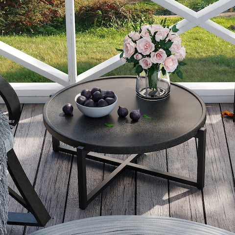 COSIEST Indoor Outdoor Dark Grey Coffee Table, Concrete Round Top with Metal Frame