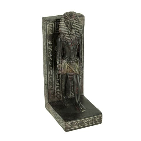 Dark Brown Stone Finish Egyptian Pharaoh Bookend Statue - 7.75 X 4 X 3 inches