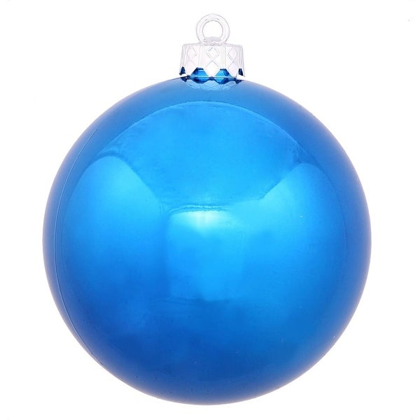 """Shiny Blue UV Resistant Commercial Drilled Shatterproof Christmas Ball Ornament 8"""" (200mm)"""