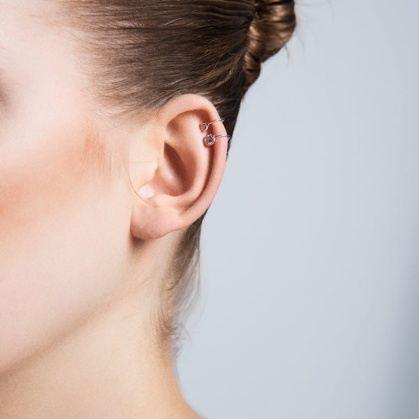 Amorium Mini Bezel Cartilage Ear Cuff in Sterling Silver with Cubic Zirconia