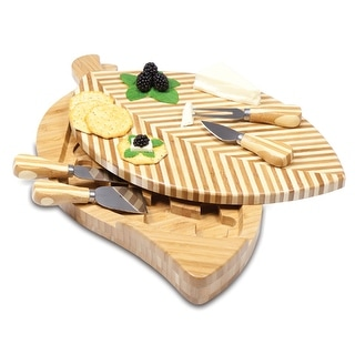 Picnic Time 830-00-505 Leaf Cheese Cutting Board with Cheese Tools - Bamboo