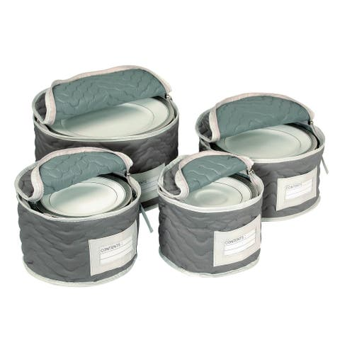 Quilted Microfiber Plate Case Set of 4 Grey
