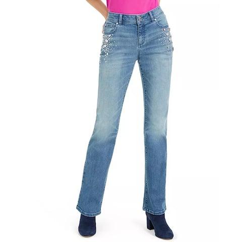 INC International Concepts Women's Rhinestone-Embellished Curvy Bootcut Jeans Blue Size 8