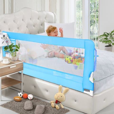 56 inch Blue Bed Rail, Extra Long Swing Down Safety Bedrail Assist - L