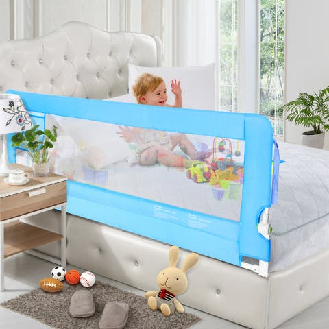 70in Blue Bed Rail, Extra Long Swing Down Hide Away(HA) Safety Bedrail Assist Extra Long Mesh Guard Rails for Convertibl