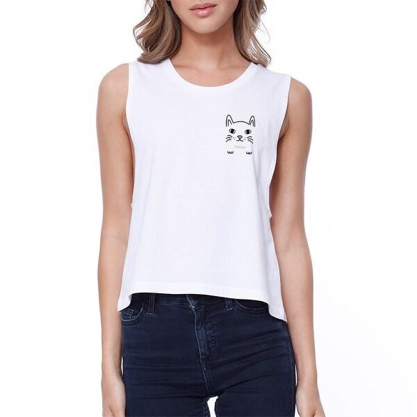 Meow Pocket Cat Crop Tee Girl's Sleeveless Shirt Junior Tank Top