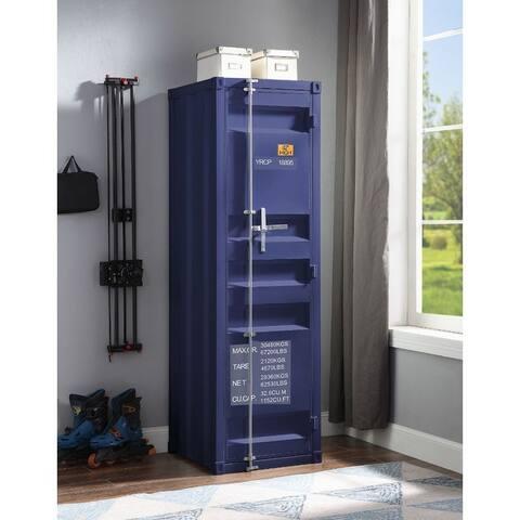 Q-Max Blue Finish1 Metal Door Recessed Panels Rectangular Wardrobe