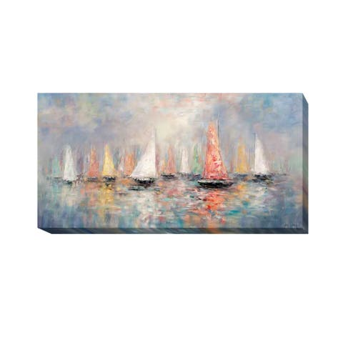 Colored Sails by John Young Gallery Wrapped Canvas Giclee Art (12 in x 24 in)