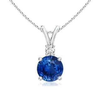 Angara V-Bail Round Blue Sapphire Solitaire Pendant with Diamond