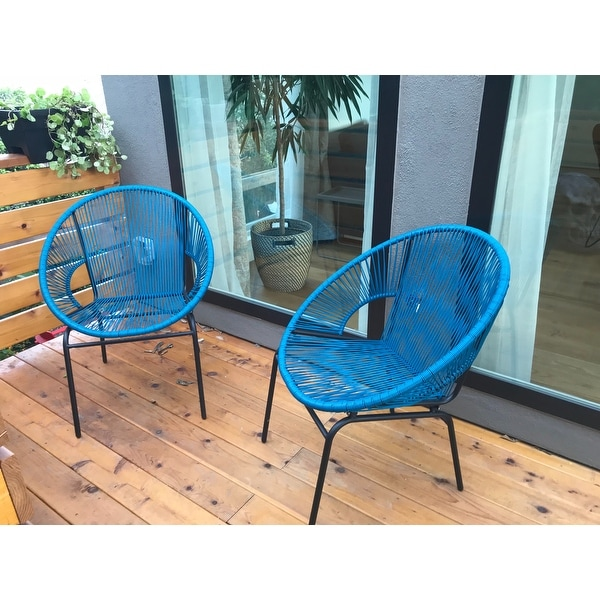 Corvus Sarcelles Woven Wicker Patio Chairs Set Of 2 On Free Shipping Today 17805619