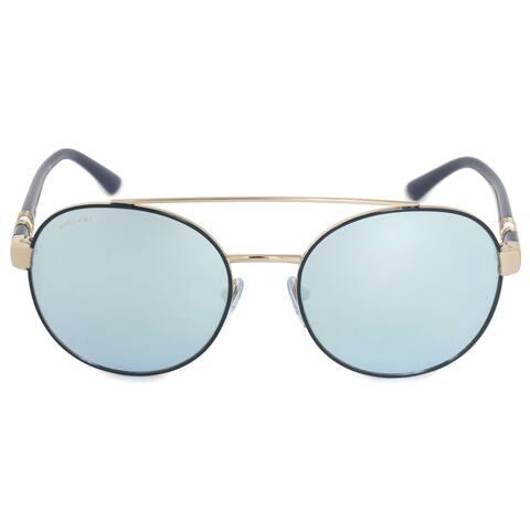 Bvlgari Round Sunglasses BV6085B 20206J 55 Blue Metal Frame Blue Mirror Lenses