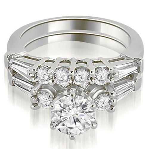 1.60 cttw. 14K White Gold Baguette and Round Diamond Bridal Set