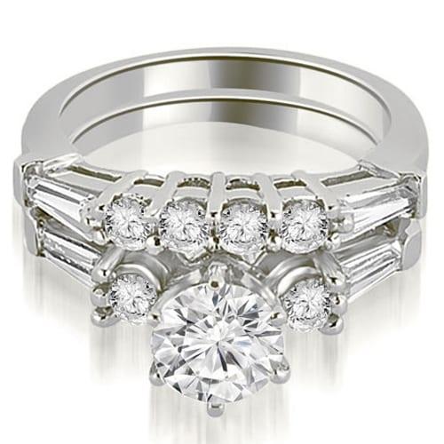 1.85 cttw. 14K White Gold Baguette and Round Diamond Bridal Set
