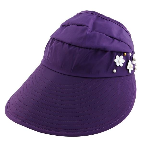 3b31658afd1 Woman Flower Decor Adjustable Travel Sports Floppy Cap Sun Visor Hat Purple