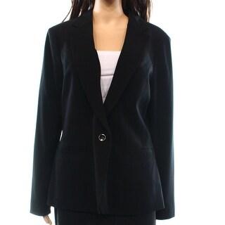 INC NEW Deep Black Women's Size 10 Notch Collar One Button Blazer