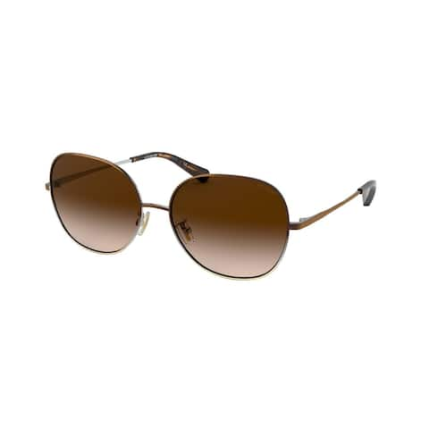 Coach HC7108 933913 57 Shiny Brown/silver/light Gold Woman Round Sunglasses - Brown / Silver / Gold
