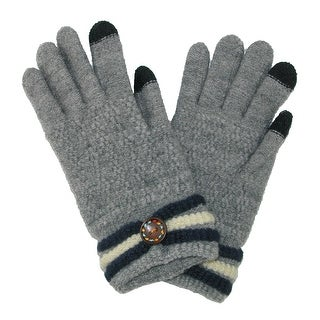 CTM® Women's Touchscreen Gloves with Button Design