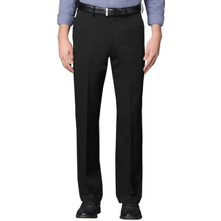 Van Heusen Big and Tall Extender Flat Front Dress Pants Black Solid 50 x 30