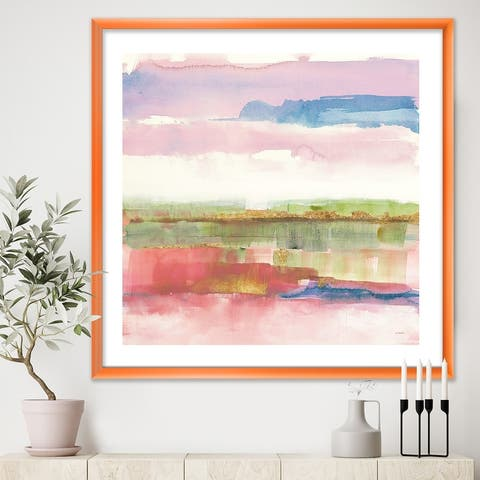 Designart 'Influence of Line and Color Gold Bright' Shabby Chic Premium Framed Art Print