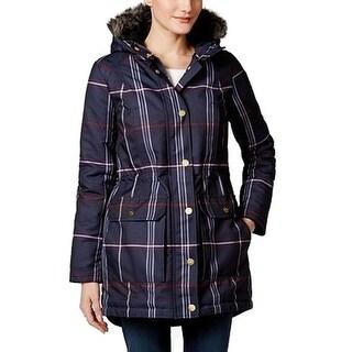 Tommy Hilfiger NEW Blue Women Size Medium M Faux Fur Trim Hooded Coat