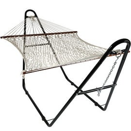 Sunnydaze Cotton Double Wide 2-Person Rope Hammock with Spreader Bars and Multi-